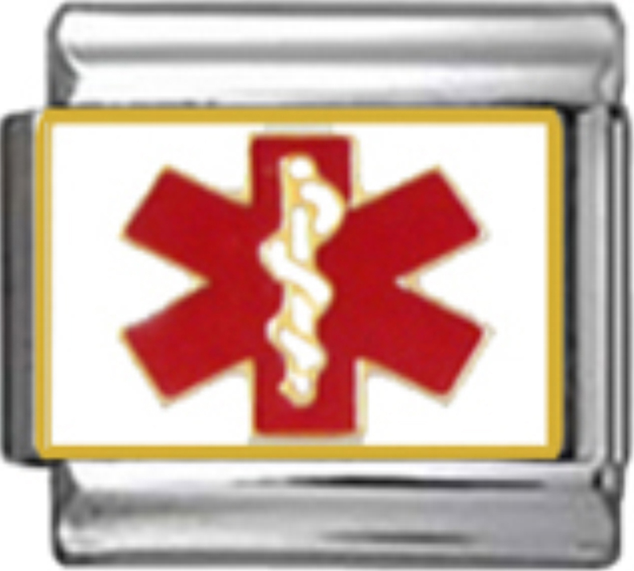 Alert Red Medical Caduceus Symbol Enamel Italian Charm 9mm 1x Me002