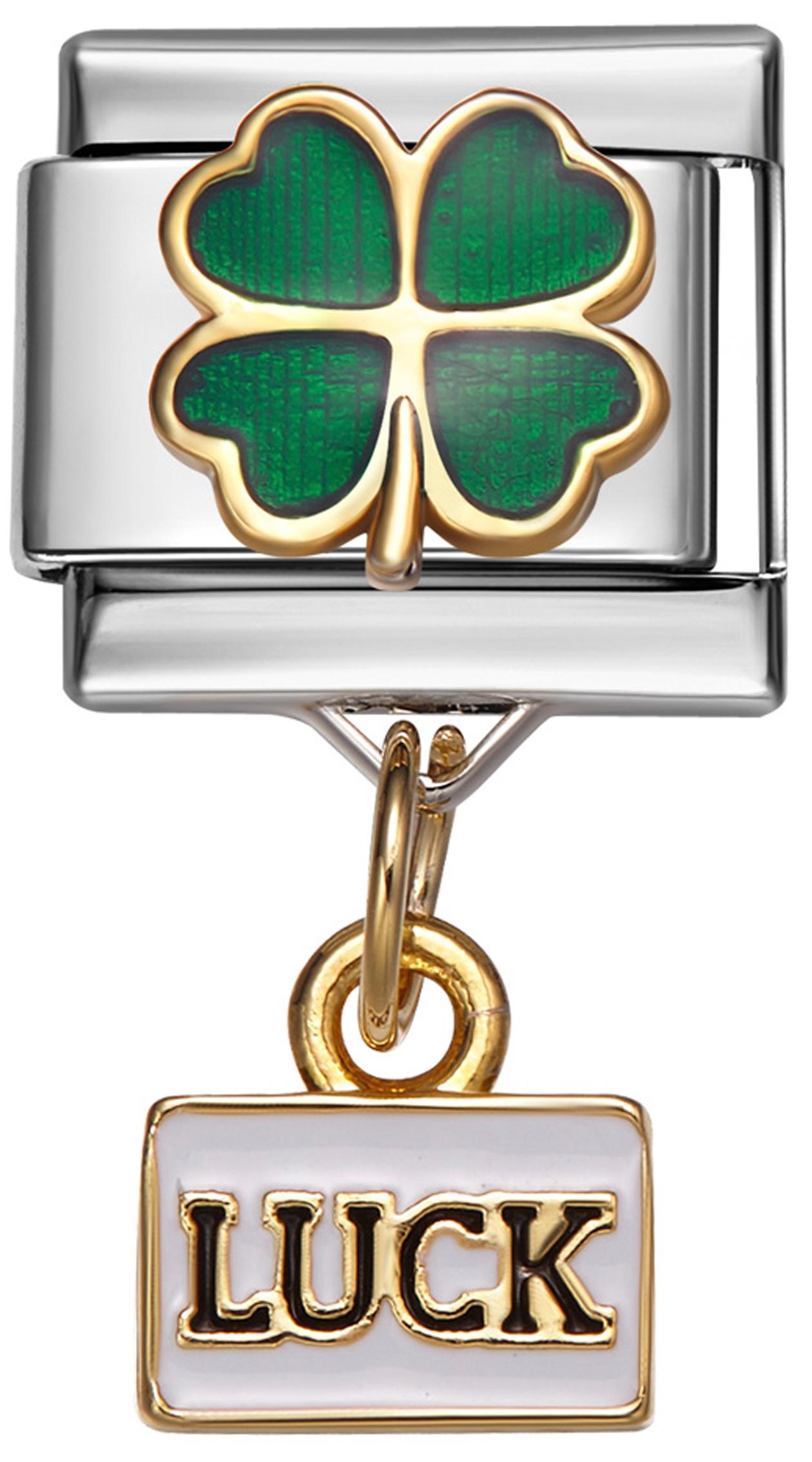 IRISH FOUR LEAF CLOVER Dangle Italian 9mm Charm NC168 Fits Nomination Classic