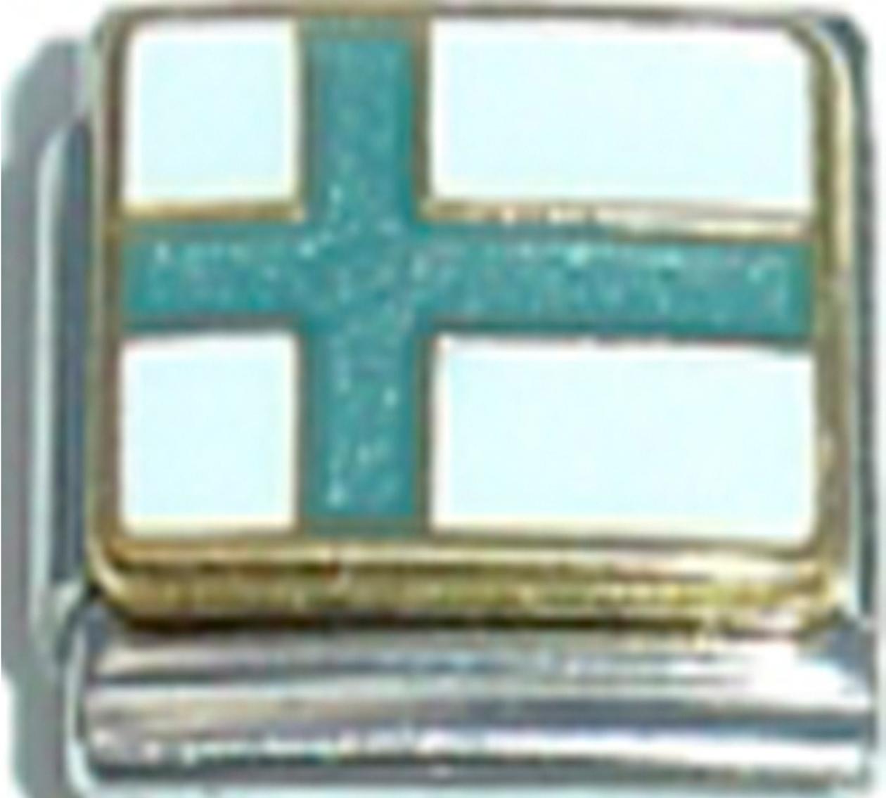 GREECE GREEK FLAG Ceramic Italian Charm 9mm - 1 x PQ019 Single Bracelet Link 2WoGG